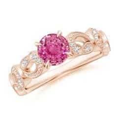Nature Inspired Pink Sapphire & Diamond Filigree Ring