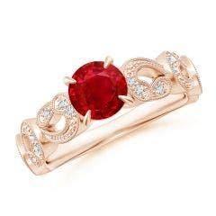 Nature Inspired Ruby & Diamond Filigree Ring