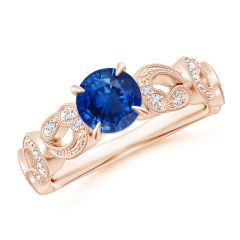 Nature Inspired Blue Sapphire & Diamond Filigree Ring