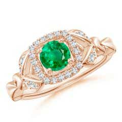 Nature Inspired Emerald Halo Ring with Leaf Motifs