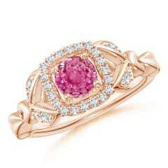 Nature Inspired Pink Sapphire Halo Ring with Leaf Motifs