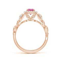 Toggle Nature Inspired Pink Sapphire Halo Ring with Leaf Motifs