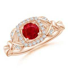 Nature Inspired Ruby Halo Ring with Leaf Motifs