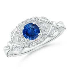 Nature Inspired Blue Sapphire Halo Ring with Leaf Motifs