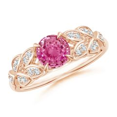 Nature Inspired Round Pink Sapphire Leaf Shank Ring
