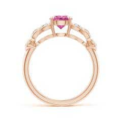Toggle Nature Inspired Round Pink Sapphire Leaf Shank Ring