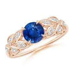Nature Inspired Round Blue Sapphire Leaf Shank Ring