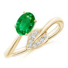 Nature Inspired Emerald Bypass Ring with Diamond Leaf