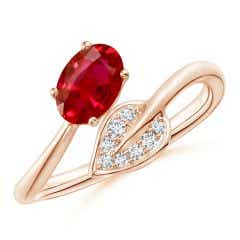 Nature Inspired Ruby Bypass Ring with Diamond Leaf
