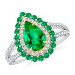 Pear-Shaped Emerald Double Halo Two Tone Ring
