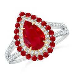 Pear-Shaped Ruby Double Halo Two Tone Ring