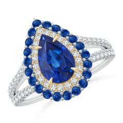 Pear-Shaped Sapphire Double Halo Two Tone Ring
