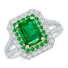 Emerald-Cut Emerald Two Tone Ring with Double Halo