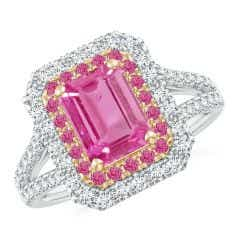 Emerald-Cut Pink Sapphire Two Tone Ring with Double Halo