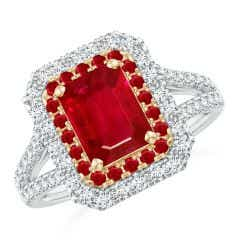 Emerald-Cut Ruby Two Tone Ring with Double Halo