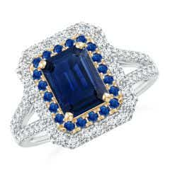 Emerald-Cut Sapphire Two Tone Ring with Double Halo