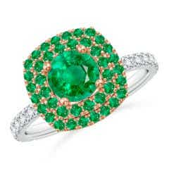 Round Emerald & Diamond Two Tone Ring with Double Halo