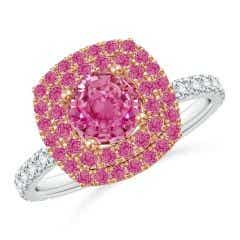 Round Pink Sapphire Two Tone Ring with Double Halo