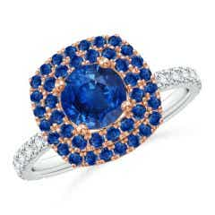 Round Sapphire Two Tone Ring with Double Halo