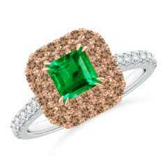 Emerald and Coffee Diamond Double Halo Two Tone Ring
