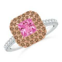 Pink Sapphire and Coffee Diamond Double Halo Two Tone Ring