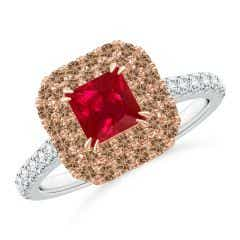 Ruby and Coffee Diamond Double Halo Two Tone Ring