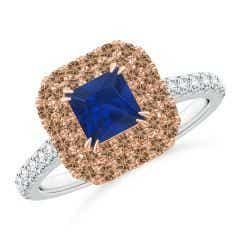 Sapphire and Coffee Diamond Double Halo Two Tone Ring