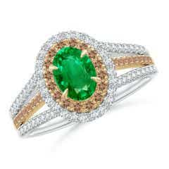 Emerald & Coffee Diamond Double Halo Ring in Two Tone Gold