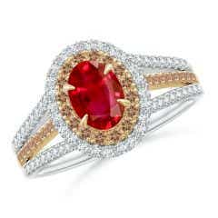 Ruby & Coffee Diamond Double Halo Ring in Two Tone Gold