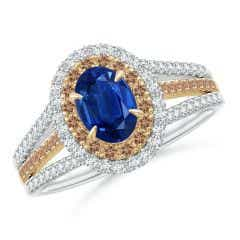 Sapphire & Coffee Diamond Double Halo Ring in Two Tone Gold