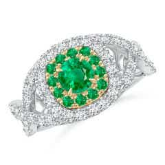 Emerald & Diamond Two Tone Ring with Criss-Cross Shank
