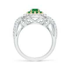 Toggle Emerald & Diamond Two Tone Ring with Criss-Cross Shank
