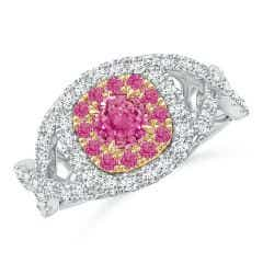 Pink Sapphire & Diamond Two Tone Ring with Criss-Cross Shank
