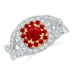 Ruby & Diamond Two Tone Ring with Criss-Cross Shank