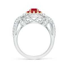 Toggle Ruby & Diamond Two Tone Ring with Criss-Cross Shank