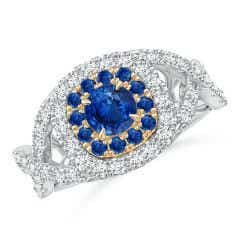 Sapphire & Diamond Two Tone Ring with Criss-Cross Shank
