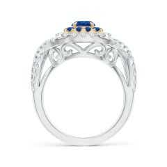Toggle Sapphire & Diamond Two Tone Ring with Criss-Cross Shank