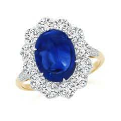 Vintage Style Oval Cabochon Sapphire Ring with Diamond Halo