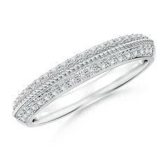 Diamond Twisted Rope Knife-Edged Wedding Band