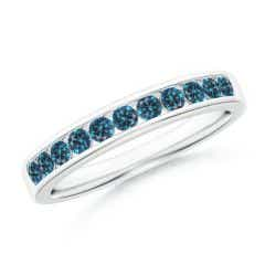 Channel Set Round Enhanced Blue Diamond Half Eternity Band