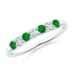 Half Eternity Seven Stone Emerald and Diamond Wedding Band