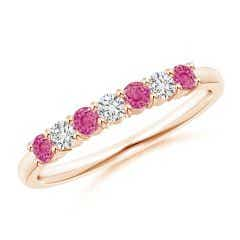 Half Eternity 7 Stone Pink Sapphire & Diamond Wedding Band