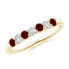 Half Eternity Seven Stone Ruby and Diamond Wedding Band