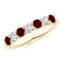 Half Eternity Seven Stone Ruby and Diamond Wedding Band