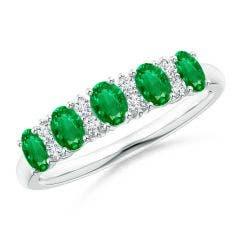 Five Stone Emerald and Diamond Wedding Band