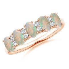 Five Stone Opal and Diamond Wedding Band