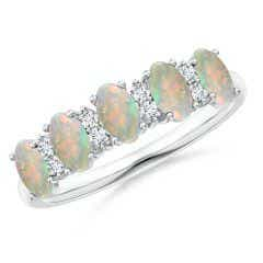 Five Stone Opal and Diamond Wedding Band