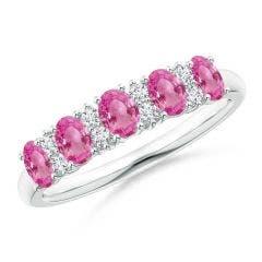 Five Stone Pink Sapphire and Diamond Wedding Band