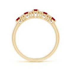 Toggle Five Stone Ruby and Diamond Wedding Band