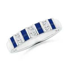 Vertically Channel Set Sapphire and Diamond Half Eternity Band